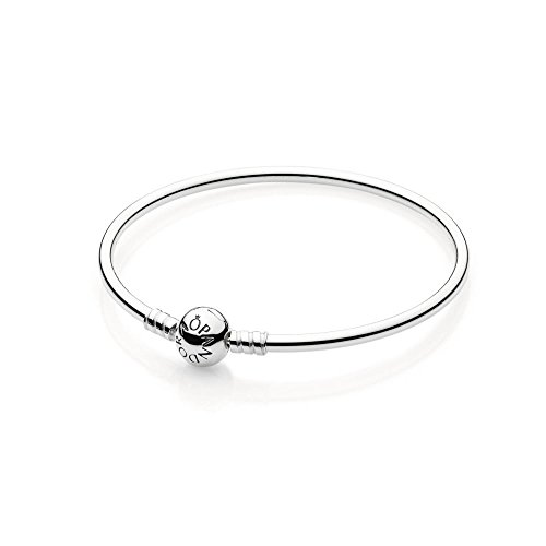 PANDORA Sterling Silver Bangle with Bead Clasp 590713-19, 7.5″ (19cm)
