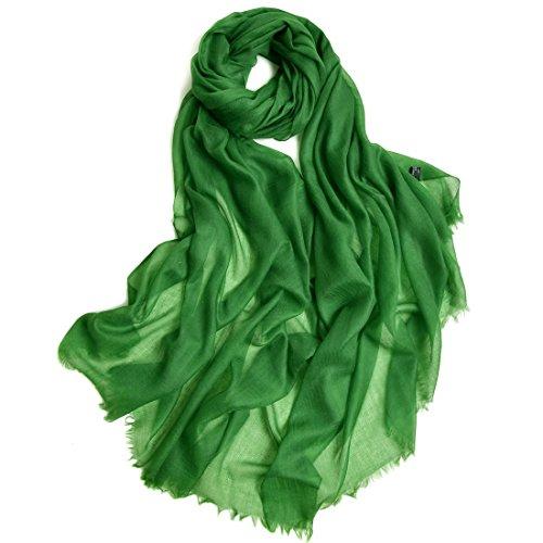 ZORJAR Pure Cashmere Scarf Women Ultra Thin Pashmina Shawls and Wraps 39″x94″(DarkGreen)