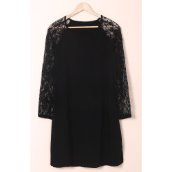 Long Sleeve Lace Splicing Plus Size Dress