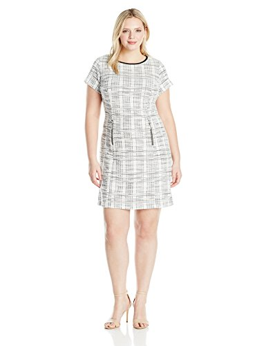 Sharagano Women's Plus Size Short Sleeve Boucle Dress, Ivory/Black, 16W