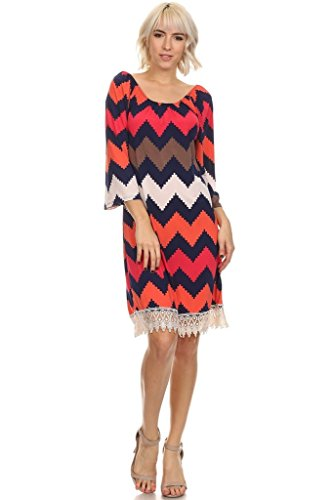(Plus Size) Chevron Printed Scoop Neck A-Line Dress (MADE IN U.S.A)