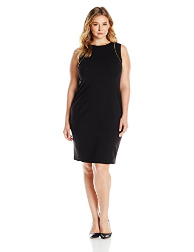 Calvin Klein Women's Plus Size Sheath with Zip at Shoulder, Black, 24W