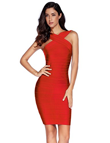 Meilun Women's Rayon Front Cross Cocktail Bandage Bodycon dress Large Red