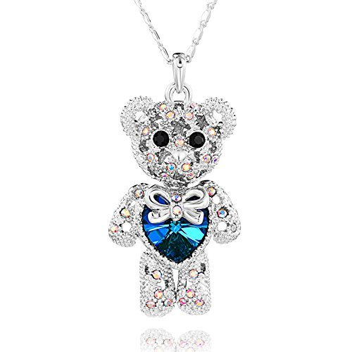 Special Outlook Teddy Bear Necklace – Blue Love Heart Crystal Pendant – Cute Birthstone Jewelry for Women and Girls