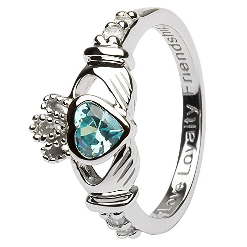 MARCH Birth Month Sterling Silver Claddagh Ring LS-SL90-3 – Size: 7 Made in Ireland