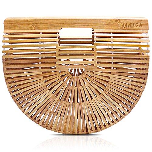 Vintga Bamboo Handbag Handmade Tote Bamboo Purse Straw Beach Bag for Women (Bamboo Small)
