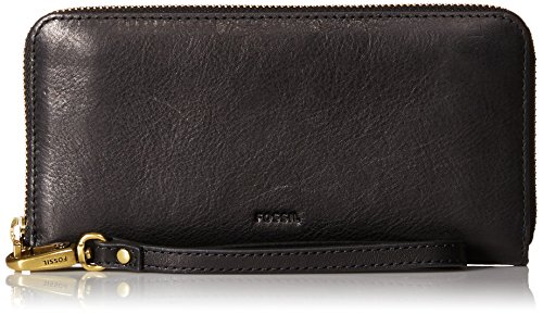 Fossil Emma Large Zip Wallet,Black,One Size