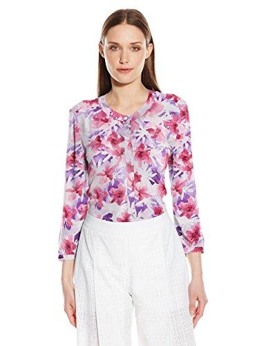 NYDJ Women's Floral 3/4 Sleeve Henley Pleat Back Blouse, Desert Wildflower Purple, Medium