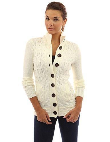 PattyBoutik Women's Mock Neck Cable Knit Cardigan (Ivory S)