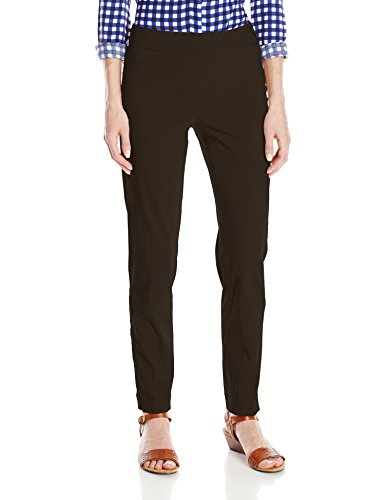 SLIM-SATION Women's Wide Band Pull On Ankle Pant with Tummy Control, Chocolate, 12