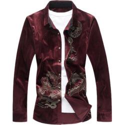 Dragon Print Velvet Shirt