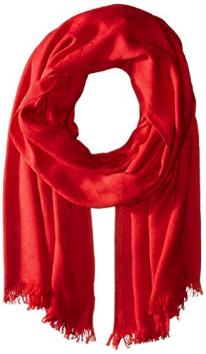 Calvin Klein Women's Ck Logo Pashmina Scarf Accessory, rouge red, one size