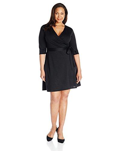 Star Vixen Women's Plus-Size Elbow Sleeve Faux Wrap Dress, Black Solid, 1X