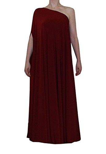 E K Sexy one Shoulder Maxi Dress Plus Size Long Formal Evening Floor Length gown-1x-2x-Burgundy