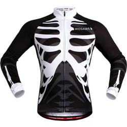 Skeleton Pattern Breathable Quick Dry Cycling Long Sleeve Jersey For Unisex