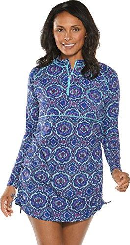 Coolibar UPF 50+ Women's Island Ruche Swim Shirt – Sun Protective (Large- Tropical Mint Beach Medallion)
