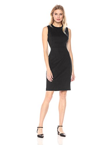 Calvin Klein Women's Scuba Sleeveless Princess Seamed Sheath Dress, Black 18, 4