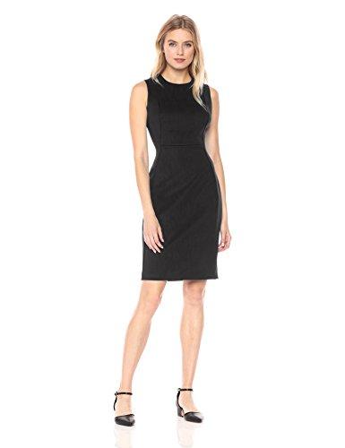 Calvin Klein Women's Scuba Sleeveless Princess Seamed Sheath Dress, Black 18, 4