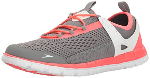 Speedo Women's The Wake Athletic Water Shoe, Grey/Neon Pink, 10 C/D US