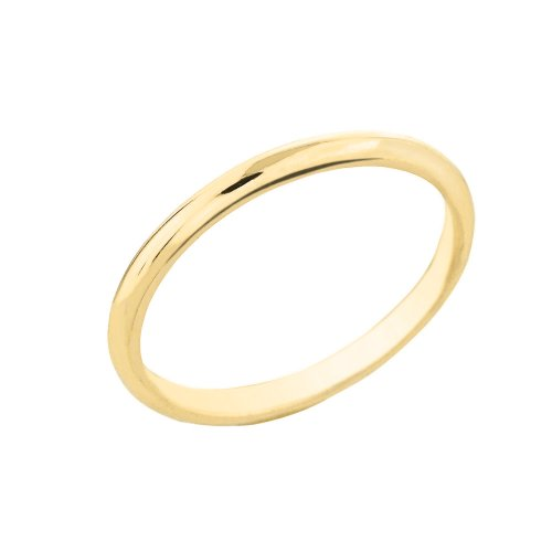 Dainty 10k Yellow Gold Comfort-Fit Band Traditional 2mm Wedding Ring for Women, Size 9.25