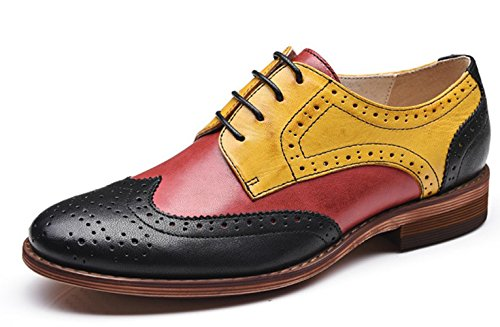U-lite Muticolor Perforated Lace-up Brogue Wingtip Leather Flat Oxfords Vintage Oxford Shoe RYB 10