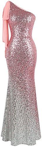 Angel-fashions Women's Asymmetric Ribbon Gradient Sequin Mermaid Long Prom Dress (XL, Pink Silver)