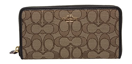Coach's Outline Signature Accordion Zip Around Wallet Khaki/Brown