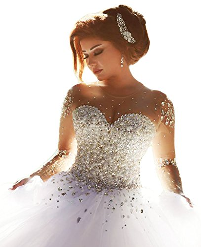 ScelleBridal Gorgeous 2016 Pearls Beading Long Sleeves Ball Wedding Dresses for Bride White 14