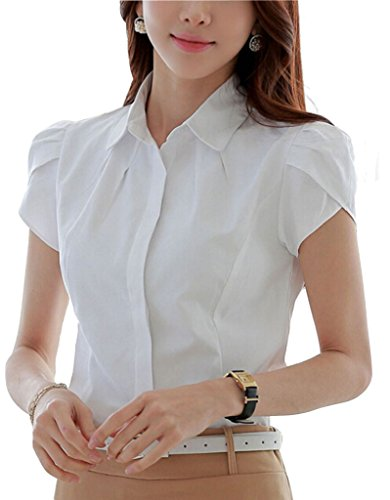 Double Plus Open DPO Lady's Cotton Formal Pleated Short Sleeve Blouse White Solid 10