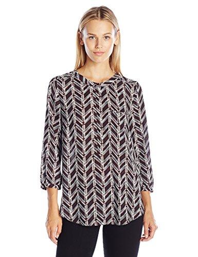 NYDJ Women's Geometric 3/4 Sleeve Henley Pleat Back Blouse, Birkin Chevron Vanilla, X-Small