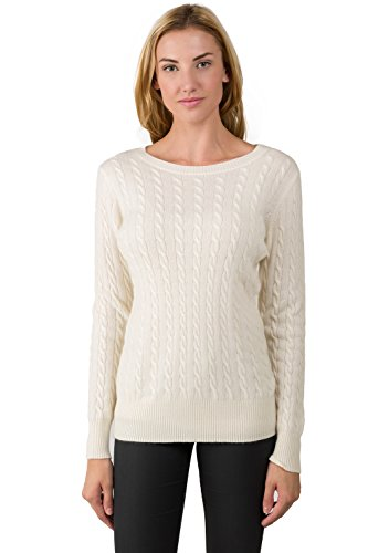 J Cashmere Women's 100% Cashmere Long Sleeve Pullover Cable Crewneck Sweater Cream Small