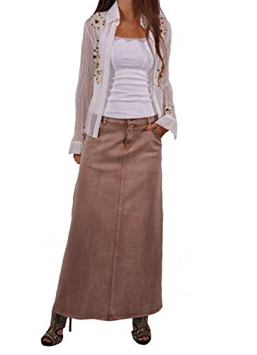 Style J Blond Chic Long Denim Skirt-Brushed Brown-38(18)