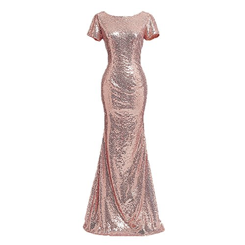 Honey Qiao Rose Gold Short Sleeves Bridesmaid Dresses Long High Back Formal Gown