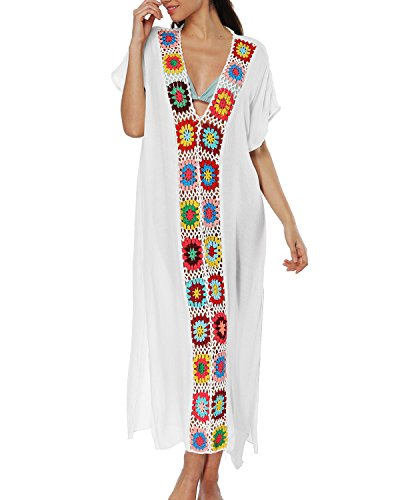 sankill Women's Swimwear Cover Ups Long Beach Dresses V Neck Cotton Tassel Crochet Bikini Cover up (White)