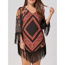 Plus Size Tribal Printed Chiffon Tassel Dress