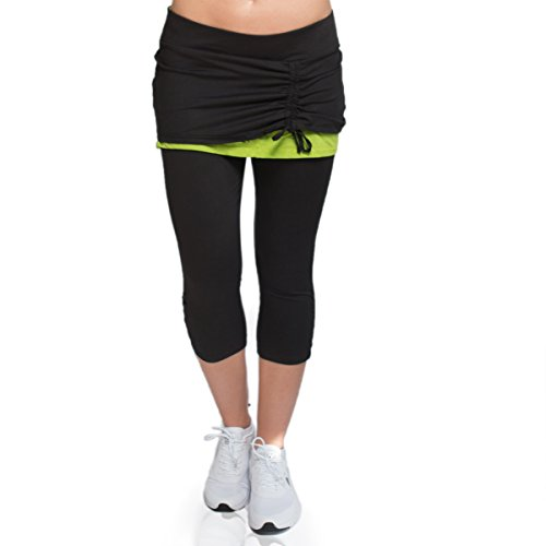 Alex + Abby Women's Energy Skirted Capri Legging Medium Black/Lime