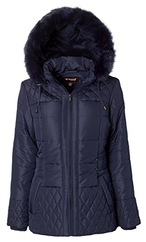 Sportoli Women's Midlength Quilted Trim Down Alternative Plush Lined Puffer Coat with Zip-Off Fur Trim Hood – Stormy Night (Medium)