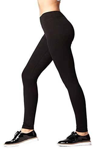 Premium Cotton Spandex Jersey Leggings – High Waist Yoga Waistband – 10 Colors – 6 Sizes (Black, Large)