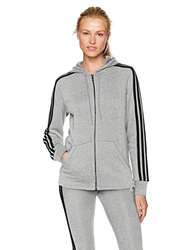 adidas Women's Essentials Cotton Fleece 3-Stripe Full Zip Hoodie, Medium Grey Heather/Black, X-Small
