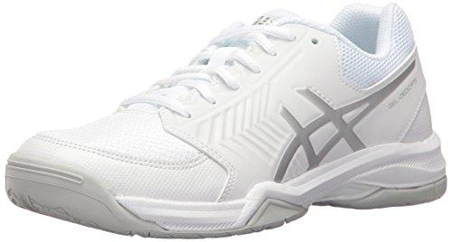 ASICS Women's Gel-Dedicate 5 Tennis Shoe, White/Silver, 8.5 M US