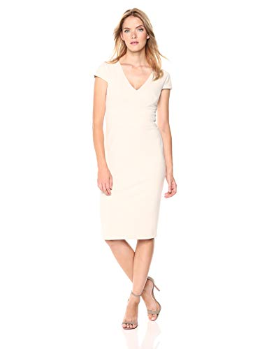 Donna Morgan Women's Cap Sleeve Stretch Crepe Sheath Dress, Horn, 14