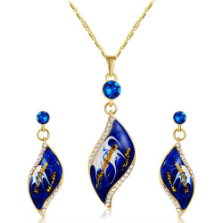 Women's Oil Painting Style Necklace Earrings Set