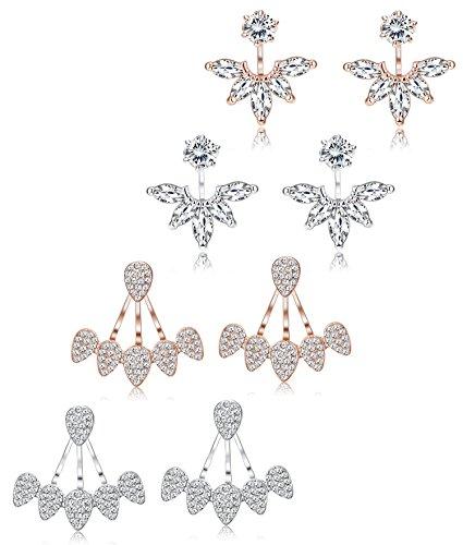 Finrezio 4 Pairs Lotus Flower Bar Stud Earrings for Women Girls Cuff Earrings Ear Jackets Stud Earrings (B:Silver and Rose Gold)