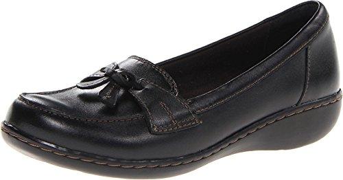 CLARKS Women's Ashland Bubble Slip-on Loafer, Black Leather, 7.5 M US