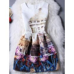 Jewel Neck Sleeveless Jacquard Printed Dress For Women