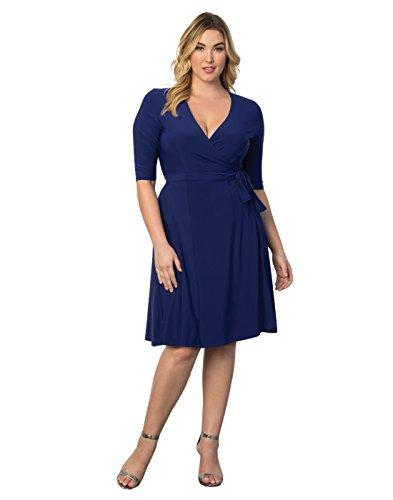 Kiyonna Women's Plus Size Essential Wrap Dress 2X Cobalt Blue