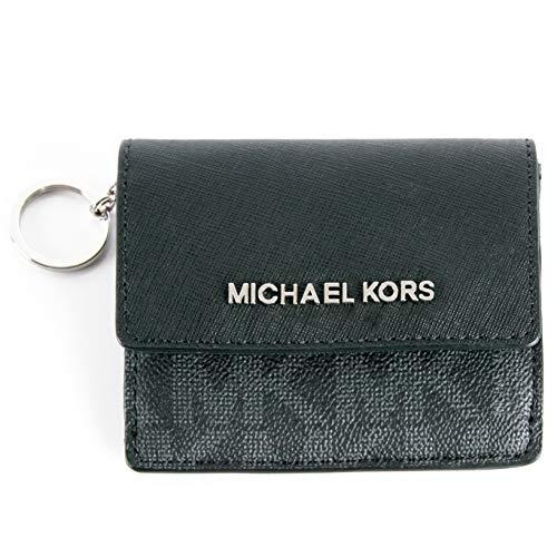 Michael Kors Jet Travel Leather Credit Card Case ID Key Holder Wallet in Black GOLD