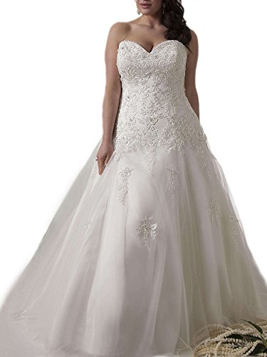 WeddingDazzle Applique Wedding Bridal Long Plus Size Wedding Dresses for Bride 26W Ivory