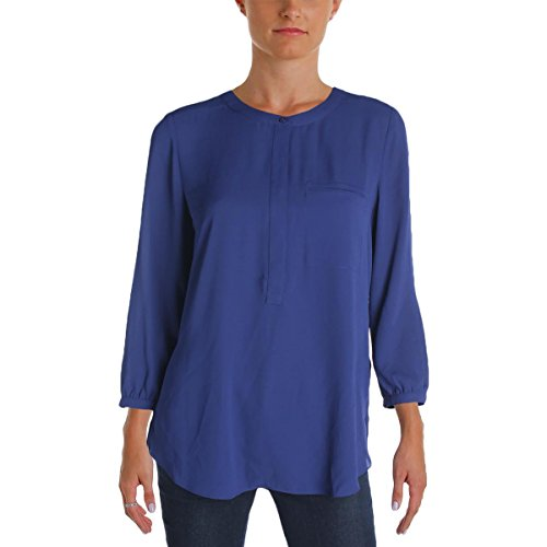 NYDJ Women's Solid 3/4 Sleeve Henley Pleat Back Blouse, Nightshade Blue, Medium