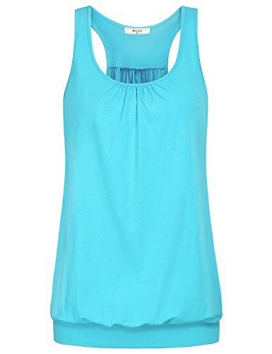 Miusey Workout Tank Tops for Women, Ladies Sleeveless Round Neck Active Running Taining SportsTrendy Feminine Racerback Essential Comfy Clothes Blue-3 L